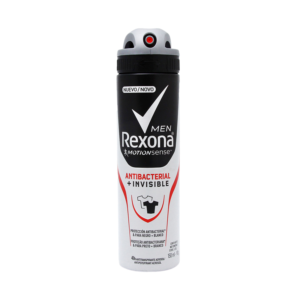 Desodorante en Aerosol Rexona Men Antibacterial Invisible  x 150 ml