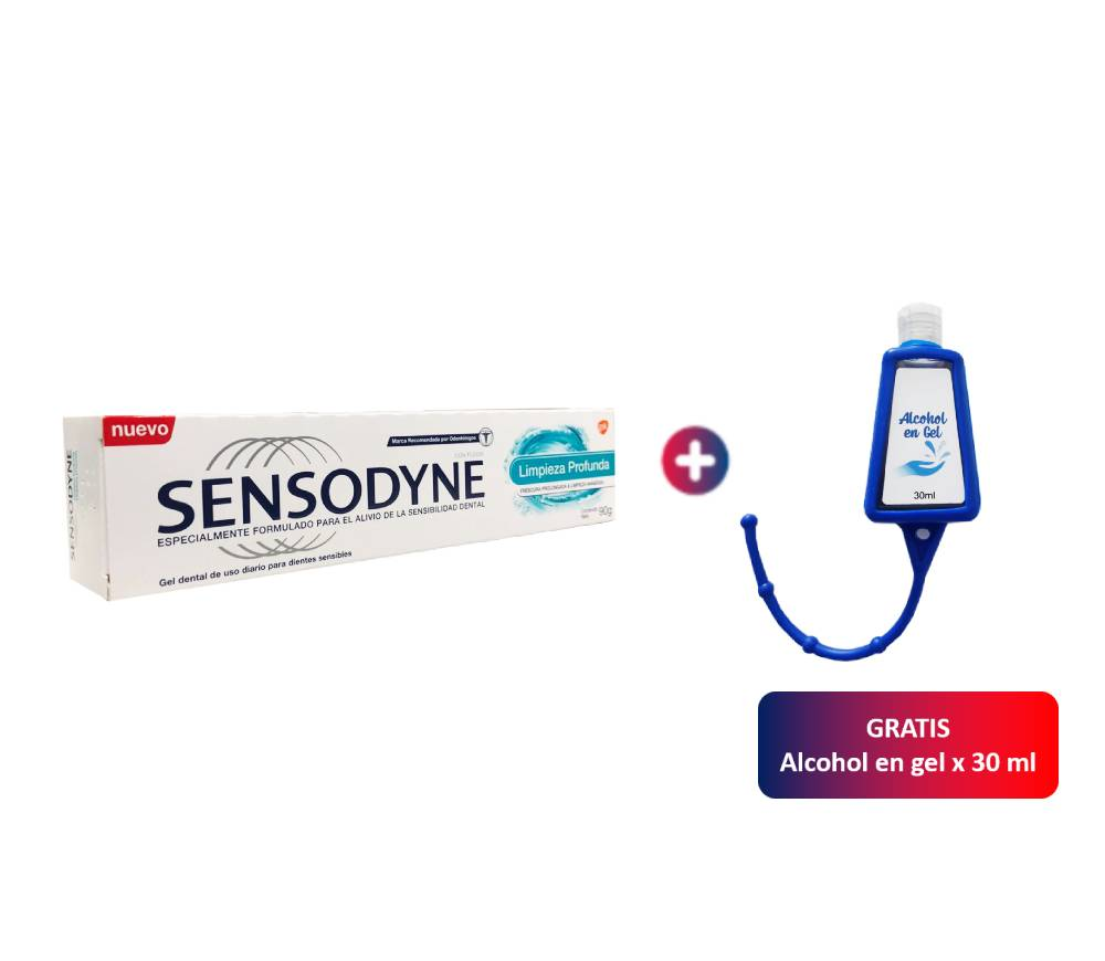Gel Dental Sensodyne Limpieza Profunda x 90 g + Alcohol en Gel de Regalo