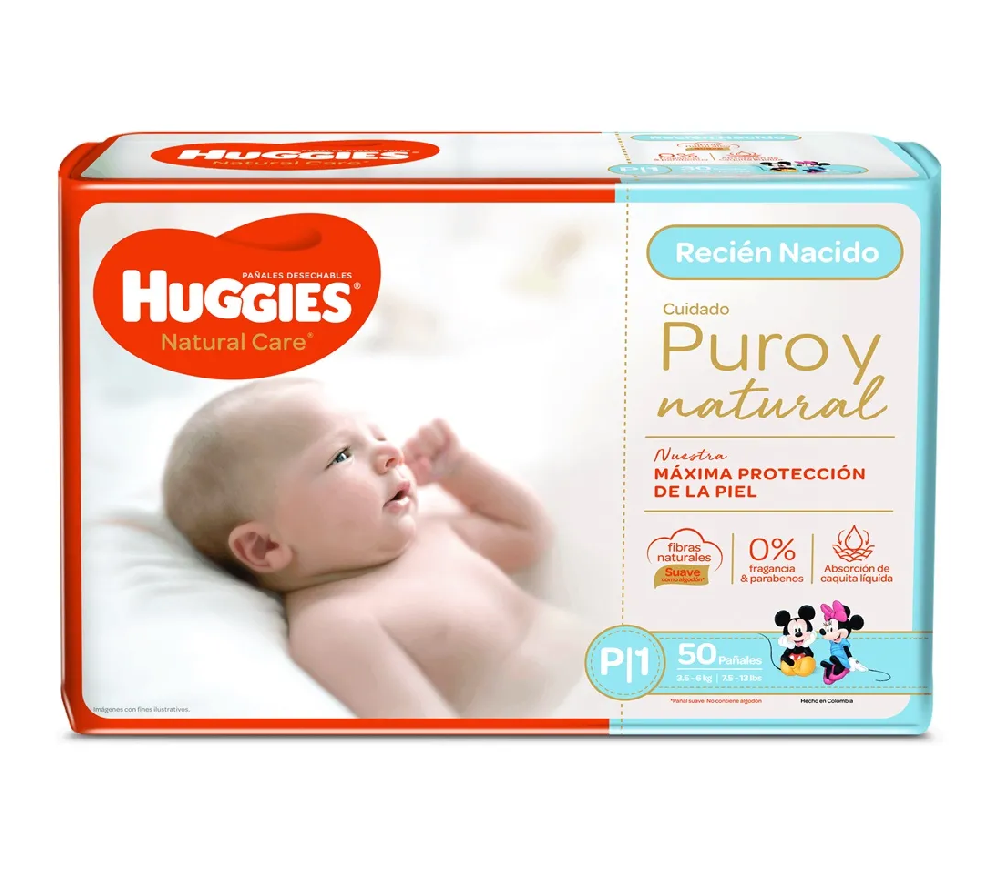 Huggies Natural Care Puro y Natural Talla P x 50 Pañales