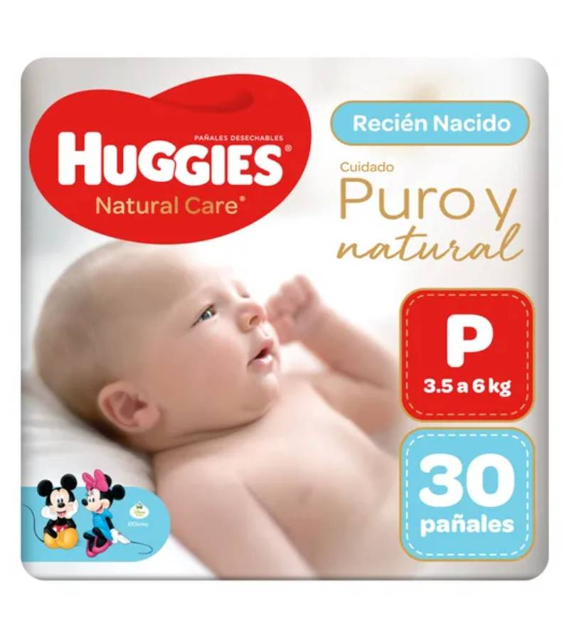 Huggies Natural Care Puro y Natural Talla P X 30 Pañales