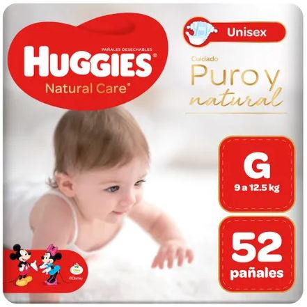 Huggies Natural Care Puro y Natural G x 52 Pañales