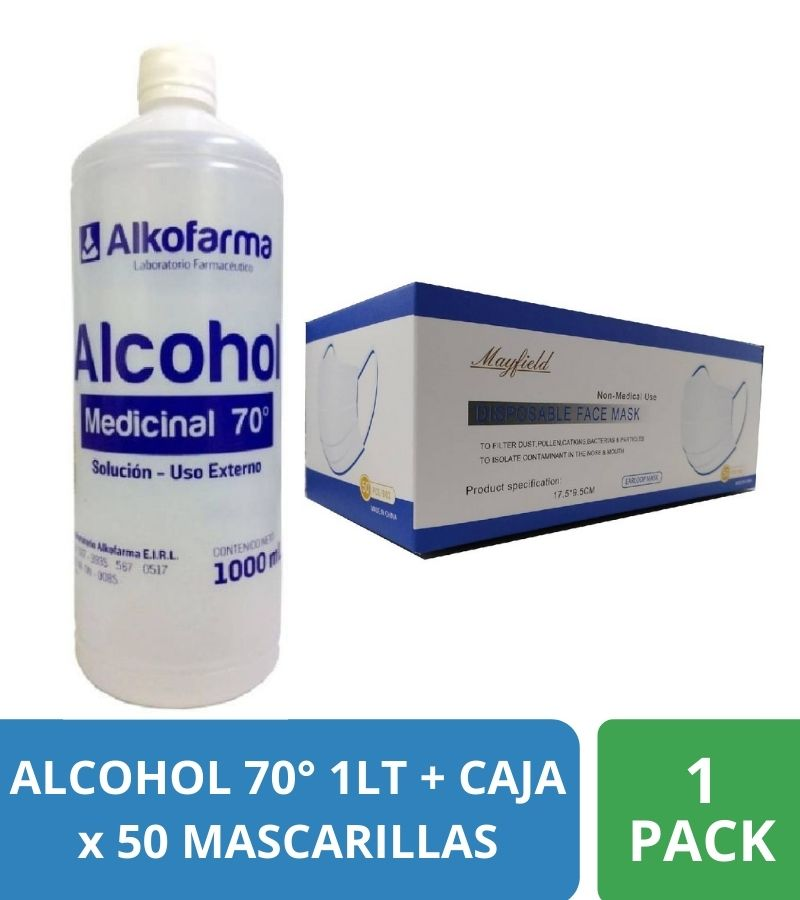 Alcohol 70° x 1LT + Caja de 50 Mascarillas de 3 pliegues