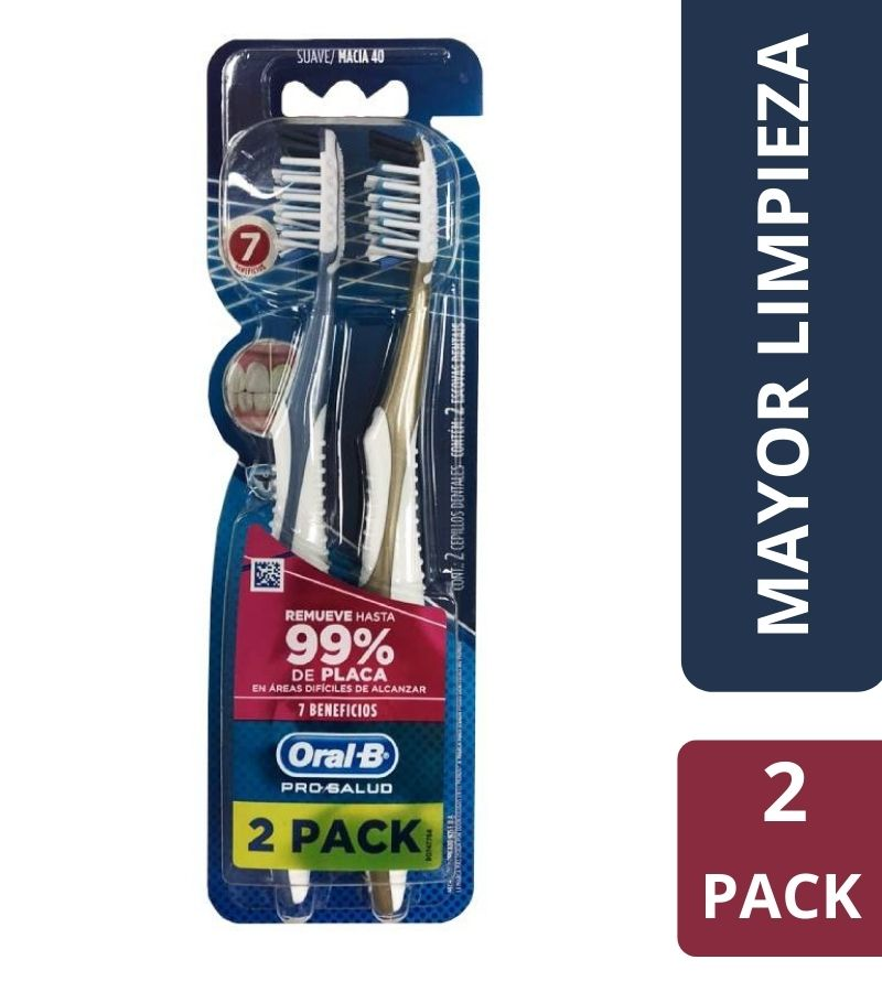 Cepillo Dental Suave Oral-B 7 Beneficios x 2 Unidades